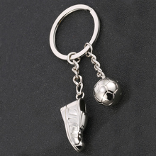 Creative Casual Metal Personality Soccer Shoes Keychains Alloy Charm Football Keyring Novelty Car Key Holder Souvenir Gift J028(China)
