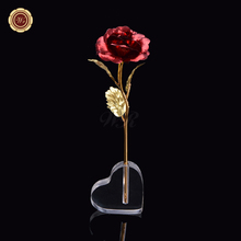 Red Color Normal Gold Rose 24k Gold Plated Genuine Rose Flower with Love Holder for Wedding Christmas Decoration Nice Gifts(China)