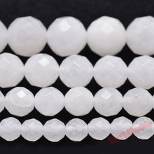 Factory price Natural Stone Faceted White Jadee Loose Beads 4 6 8 10 12MM Pick Size for Jewelry Making