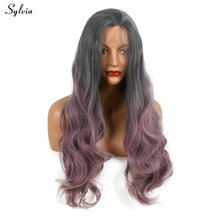 Sylvia Smoky Gray Ombre Pale Pinkish Purple Synthetic Lace Front Wig Body Wave Pastel Lavender Heat Resistant Fiber Women Hair