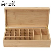Wooden Storage Box Essential Oils Jewelry Treasure Wooden Box 26 Holes Aromatherapy Natural Pine Wood Handmade Without Paint