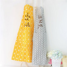 Black Gray Yellow Multifunctional Cotton And Linen Kitchen Cooking Baking Apron Cute Country Style Aprons For Woman Adult