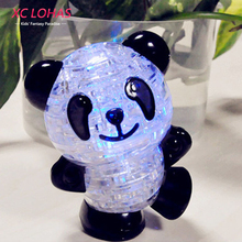 Panda 3D Puzzle LED Flash Panda Crystal Adult Puzzle Creative Children Puzzle Jigsaw Model Sweet Birthday Gift Fast Shipping(China)