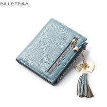 BILLETERA Slim Women's Genuine Leather Wallets Tassel Women Wallet Purse(China)