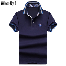 MarKyi 2017 summer new  logo embroidery mens polo shirt brands short sleeve turn down big horse polo men