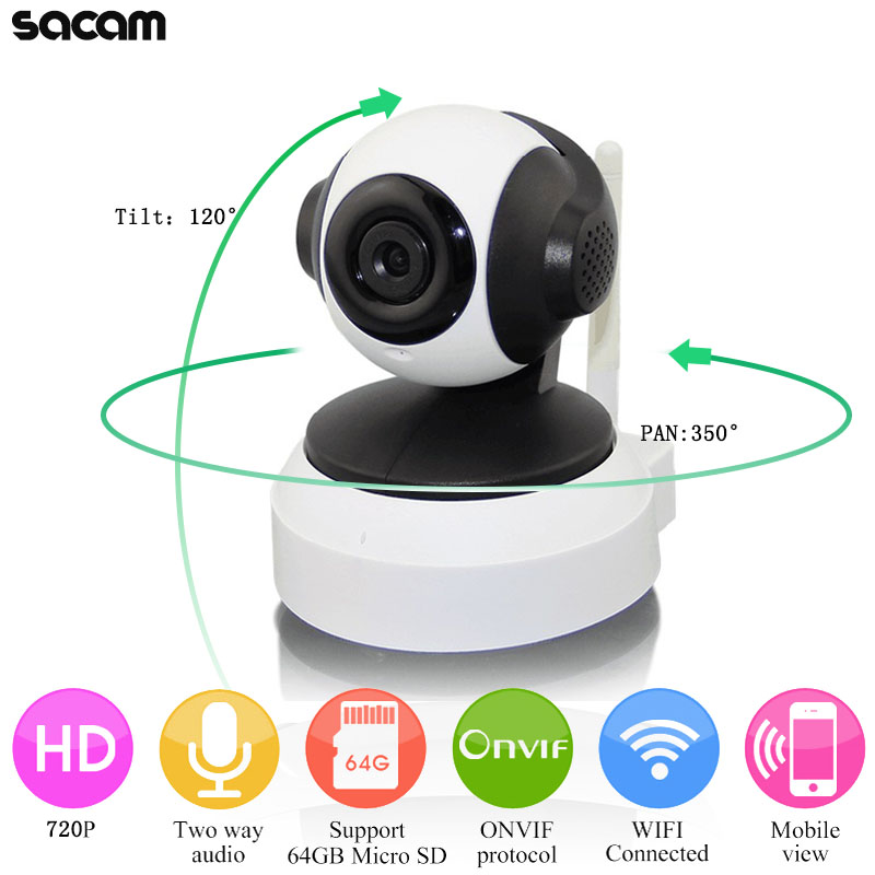 SACAM 720P WiFi Wireless IP Camera with Two-way Audio Ir Cut Night Vision Video Onvif P2P Network Webcam for Home Security Alarm<br>