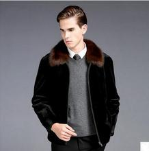 S/5XL  Mens Faux Mink Fur Coats Plus Size Winter Autumn Warm Outwears Man-Made Fur Male Jackets Overcoats Black Clothes K389