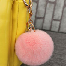 15 Colors Fur Bag Keychain Genuine Super soft Rex Rabbit Fur Ball Keychain Fur Bag Charms Keychain Fur Keyring Really Photo(China)