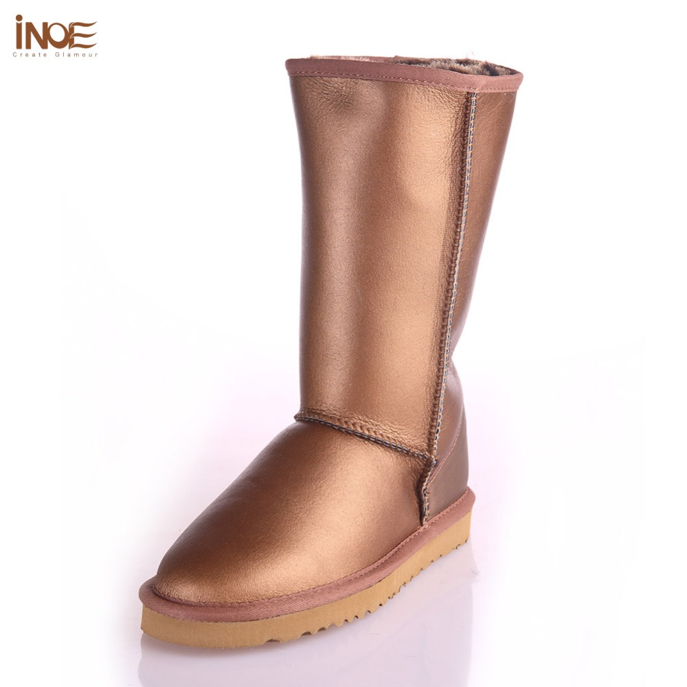 INOE sheepskin leather fur lined fashion high snow boots for women winter shoes waterproof flats high quality size 35-44 black<br><br>Aliexpress