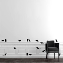 Funny Mouse hole wall stickers creative rat hole cartoon wall stickers bedroom living room mice on Stage home decor