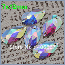 Free Shipping, 100pcs/Lot, 7*12mm Crystal AB / Clear AB resin sew on Teardrop flat back sewing on stones