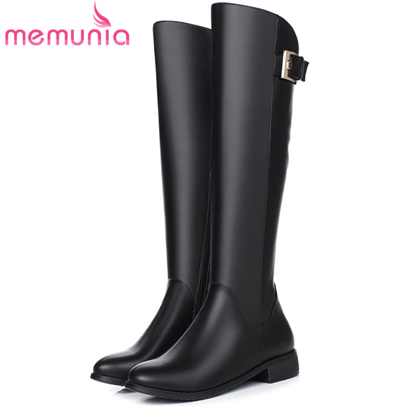 MEMUNIA Knee high boots in autumn winter boots PU soft leather med heels shoes woman fashion boots female zip black<br>
