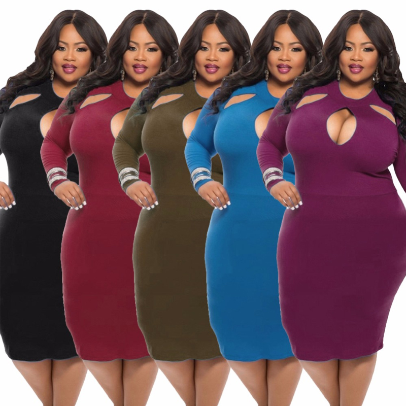 Cute Plus Size Women dress 2017 New Arrivals Spring Fashion Big Size long Sleeved Black Ruched Slim Sexy Hole Dresses 3XL H5010(China (Mainland))