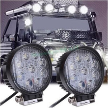 2pcs 4 Inch 27W 12V 24V LED Work Light Spot/Flood Round LED Offroad Light Lamp Worklight for Off road Motorcycle Car Truck Hot