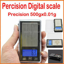 free shipping APTP450 500g x 0.01g Digital Pocket Jewelry Scale with Calibration Weights (battery included)