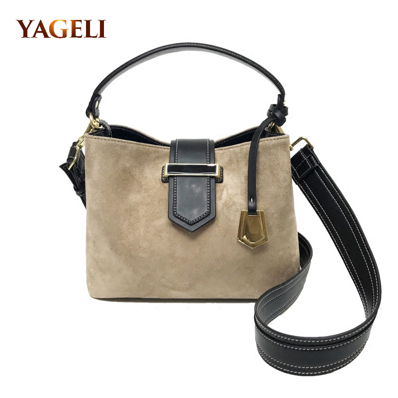YAGELI BRAND suede womens shoulder bags with wide strap fashion women handbag brand design ladies bucket ladies hand bag<br>