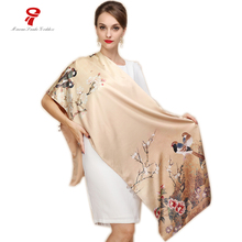 silk scarf Silk Satin Long Scarf Luxury Brand Women Double satin shawl Female high Quality Print hijab foulard winter scarf(China)