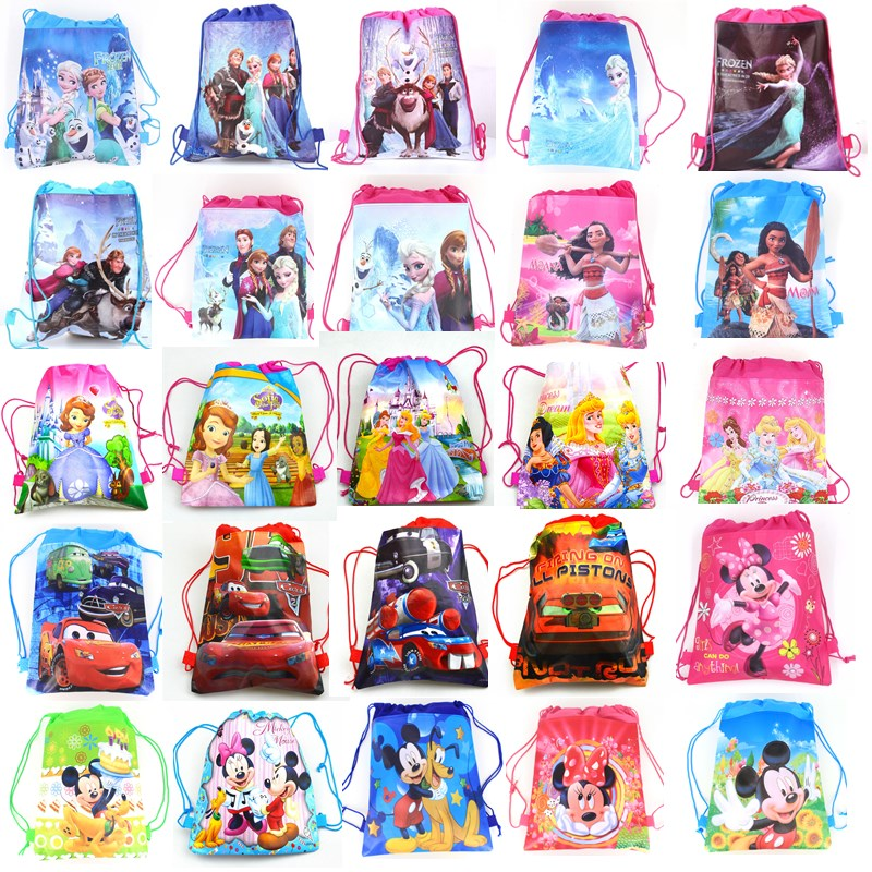 Disney Snow-White Backpack Fabrics Frozen Drawstring Moana Mickey Princess Minnie Sofia title=
