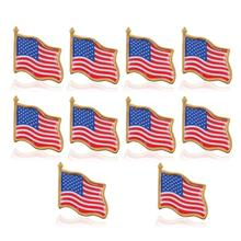 10PCS American Flag Independence Day Lapel Pin United States USA Hat Tie Tack Badge Pin Party Decoration Supplies