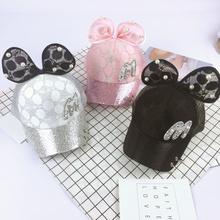 Big Bow New Baseball Cap Lovely Korea Crystal Kids Girls Adjustable Caps Fashion Mickey Patten Children Hats bone masculino