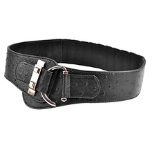 Fashion women Ostrich print leather belts grey and black Novelty gold C buckle girls's elastic wide belt nice quality bg-277(China)