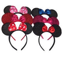 1pcs Hair Accessories Mickey Minnie Mouse Ears Solid Black & Colorful Bows Headband for Boys/Girls Birthday Party Celebrations C