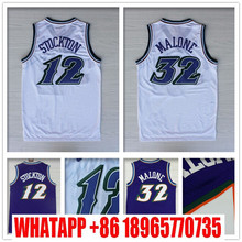 High Quality #12 John Stockton Jersey Stitched Wholesale cheap #32 Karl Malone Jersey Black throwback Basketball Jersey S-XXL