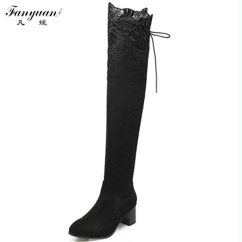 Woman Over The Knee Boots Sexy Pointed Toe Lace Side Shoes Woman Boots Med Heel Long Boots Winter Warm Flock Woman Shoes<br><br>Aliexpress