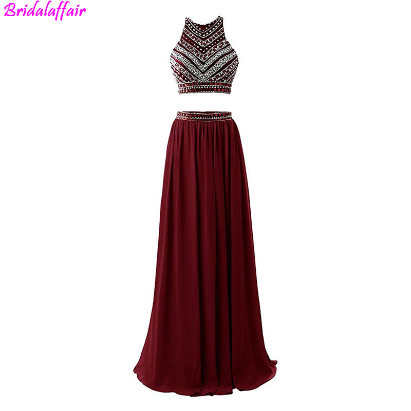 Women Fashion Luxury Long Chiffon Two Pieces Floor Length Burgundy Evening Dresses 2019 Robe De Soiree Beading Prom Dresses