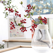 Simulated flower foam cheap red berry dress up flowers branch can adjust any shape vivid for family wedding festive decoration