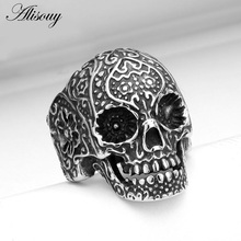 Alisouy 1 piece men's personality exaggerated ring titanium Hand carved skeleton ring Size 7-15 finger ring for men(China)
