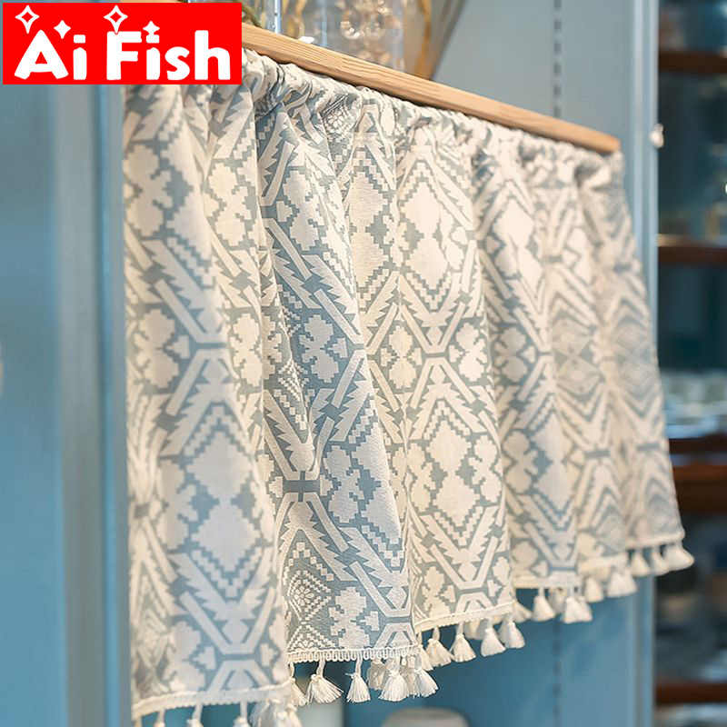 Japanese Classic Tassels Dust-proof Punching Half Curtain Door Short Curtain Cabinet For Bedroom Bookcase Curtain Panel A14-40
