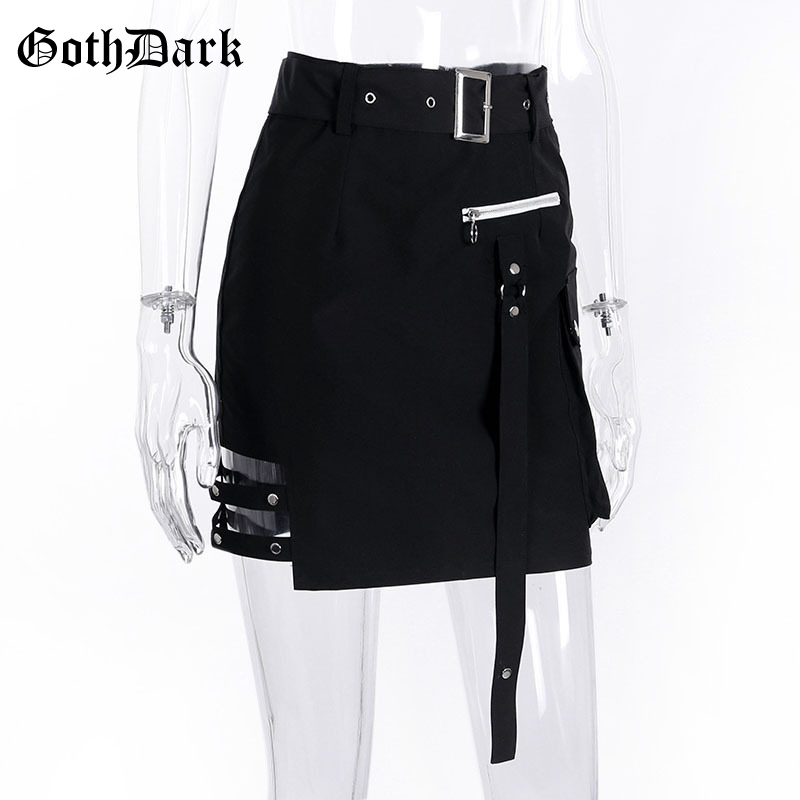 Goth Dark Solid Black Patchwork Hollow Out Skirts For Women Gothic Summer 19 Hole Grunge Eyelet Zipper Skirt Fashion Punk 5
