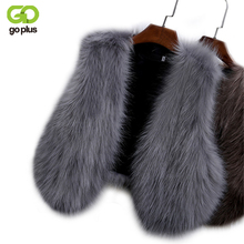 GOPLUS 2017 New Winter Women's Faux Fox Fur Vest Long Furry Shaggy Woman Fake Fur Vest Fashion Plus Size Fur Vests High Quality(China)