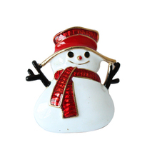 Gold-Color Christmas Snowman Costume Brooch Cheap Red Rhinestone Christmas Brooches Lot Collar Clip For Scarf Buckle(China)