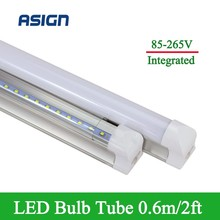 1pcs LED Bulbs Tubes 10W Integrated T8 2ft 600mm Led Bulb T8 48LEDs SMD2835 High Bright 1000lm Led Fluorescent Lights AC85-265V