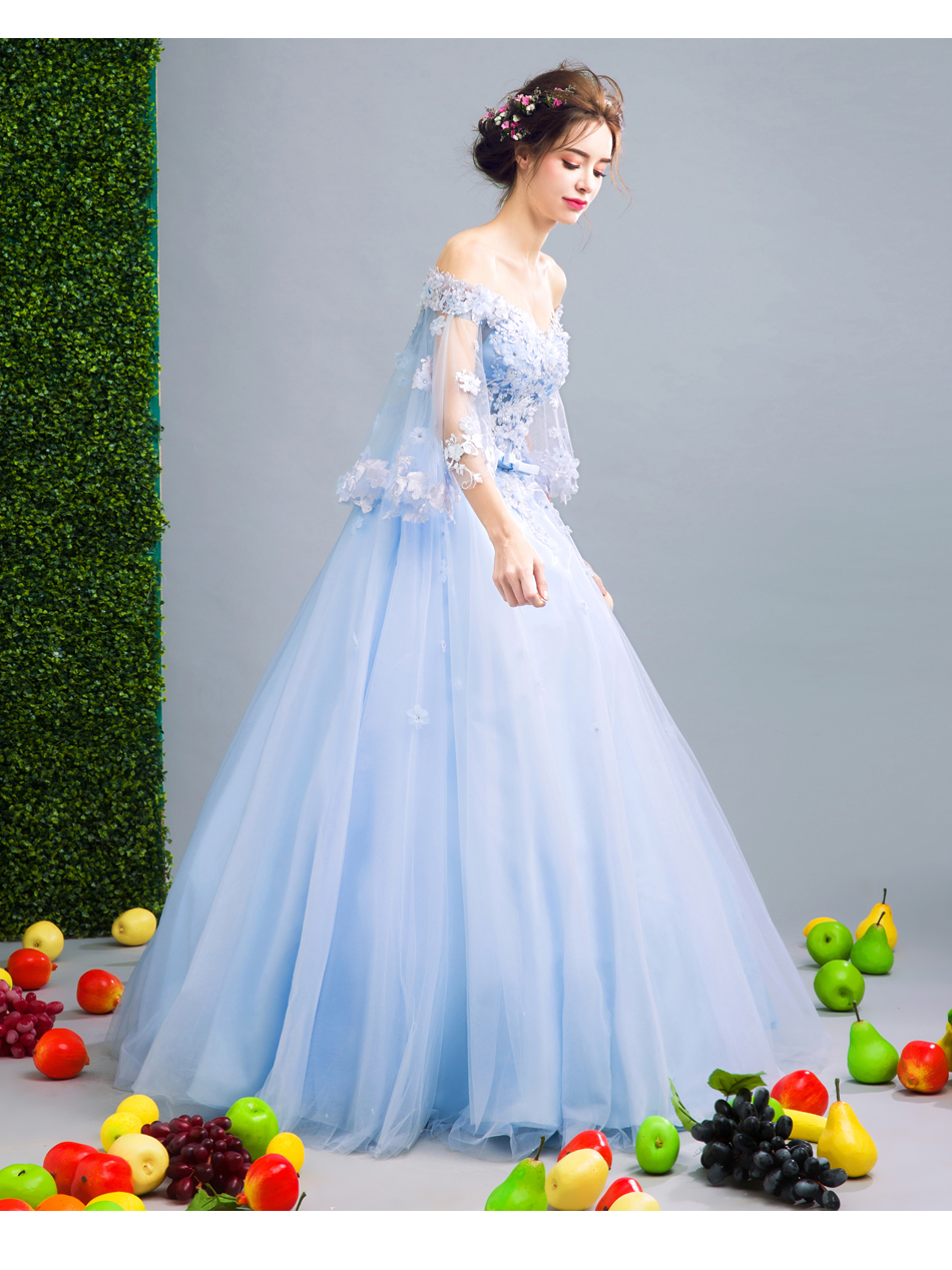 Angel Wedding Dress Marriage Bride Bridal Gown Vestido De Noiva Fairy, blue, handmade petals 2017 257 15