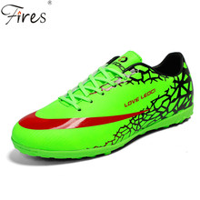 2017 New Men Football Soccer Shoes With Ankle Turf Soccer Shoe Leather Big Size Brand Soccer Cleats Training Football Sneaker(China)