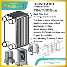B3-050B-112D standard and custom stainless steel heat exchangers with female thread and solder connection ports(China)