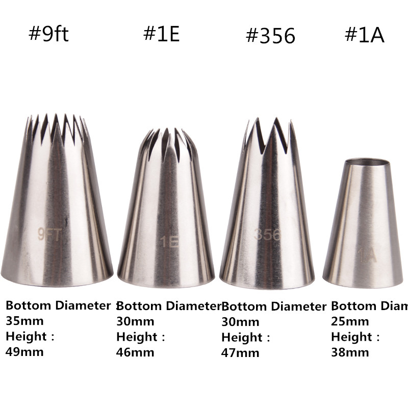 4PCS Big Cream Icing Piping Nozzles Cake Baking Tools Stainless Steel Decorating Tips Set Bakeware Pastry 3