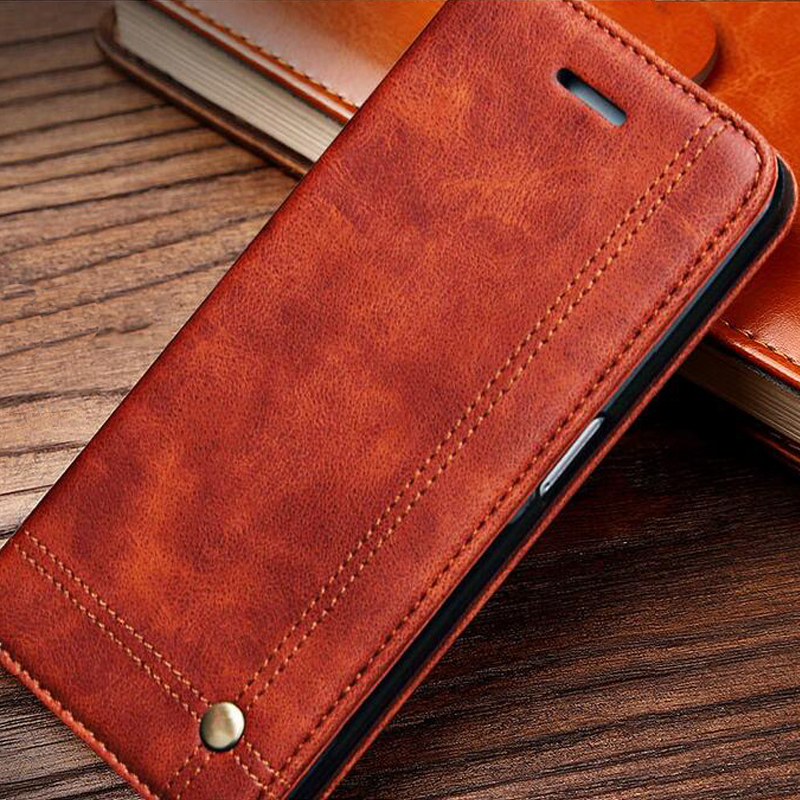 Leather Flip Wallet Leather font b Case b font for font b iPhone b font 5s