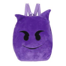 Winter New Arrival  So Cute Cartoon Emoji Emoticon Shoulder School Child Bag Purple Backpack Satchel Rucksack Bag