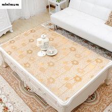 European luxury PVC Bronzing Tea tablecloths rectangle Soft glass plastic coffee table mat waterproof Anti-hot table cover(China)
