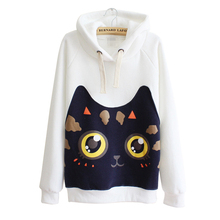 Autumn Long Sleeve Women Sweatshirt Harajuku Patch Cat Hoodies Hooded Moletons Tracksuit Jumper Pullover Thicker Fleece Tops