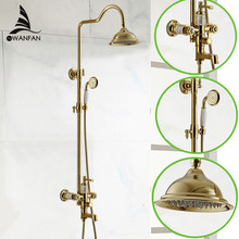 Brass Golden/Gold Plating Shower Mixer Set,Shower Faucet,Rainfall Shower Set,Bathroom Tap,Crystal Shower Free shipping YLS5896-A(China)
