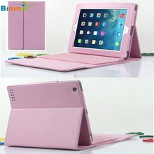 Adroit Pink Color For iPad 2 3 4 Bluetooth Silicone Keyboard Stand Leather Case Cover JAN1 drop shipping