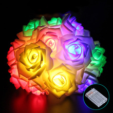 2M Wedding Decoration Lights Rose LED String Light 20LEDs Colorful Holiday Christmas Lights Battery Operated