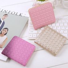 women cute mini plaid short wallet Cartera de mujer female cute small two fold wallet teenager girl cool purple money wallets