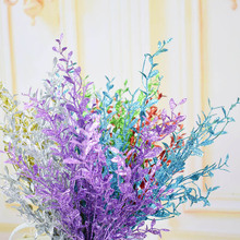 Paillette eucalyptus leaves glitter artificial flowers for home party wedding Christmas decoration golden silver purple red blue(China)