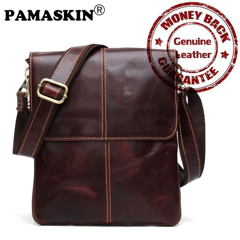 PAMASKIN 2017 Mens Briefcase Vintage Shoulder Cowhide Leather Bags Small Simple Cross-body Bags Casual Messenger Bag For Gift<br>